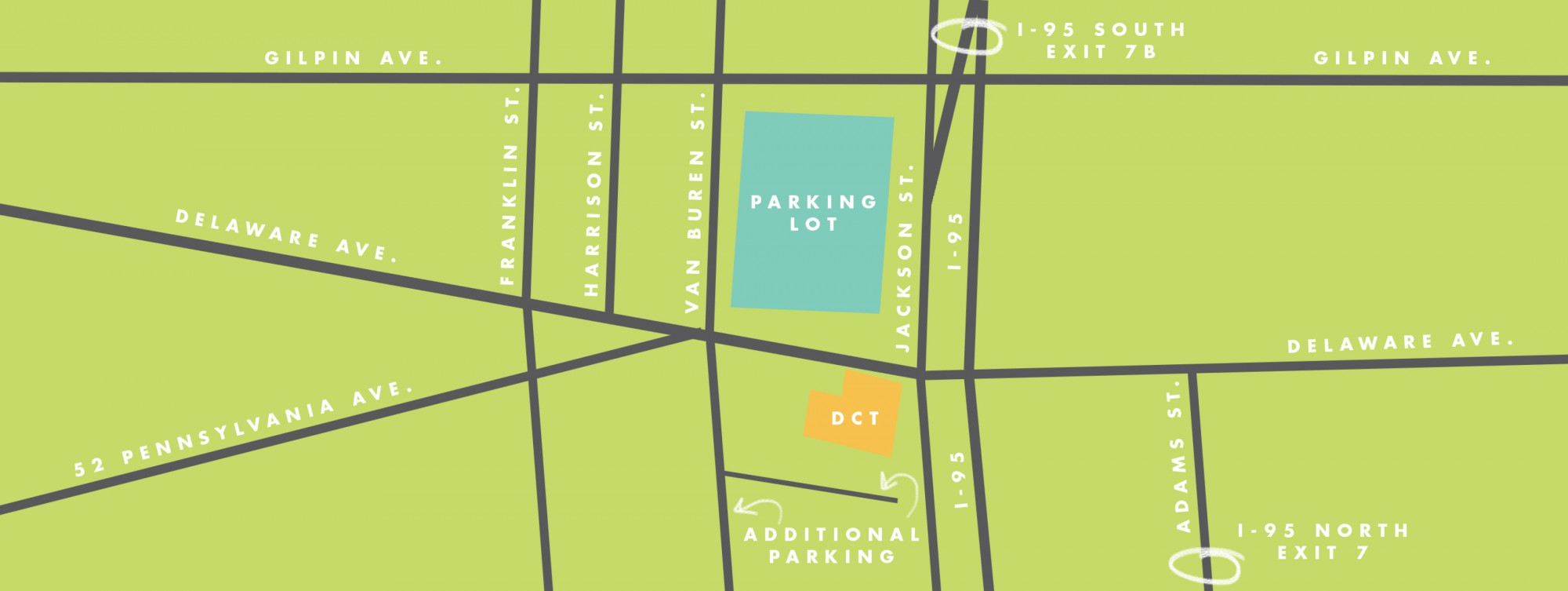 Parking Lot map for Delaware Children's Theatre